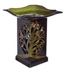 Tree of Life Ceramic Lighted Bird Bath-Detail