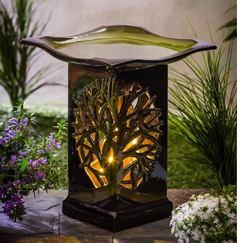 Ceramic Tree of Life Lighted Bird Bath