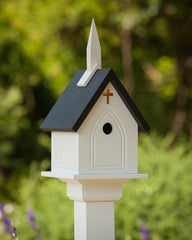Vinyl Church Post-Mount Birdhouse-Black Roof