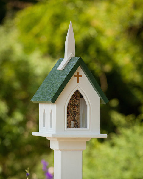 Vinyl Church Bird Feeders Pvc Church Bird Feeder
