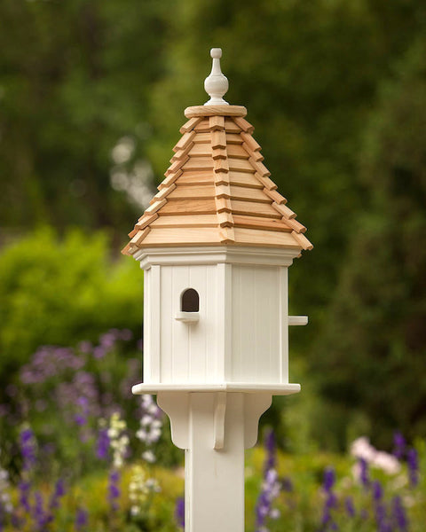 Vinyl Birdhouse With Cypress Shake Roof Post Mount Pvc