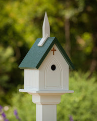 PVC/Vinyl Church Birdhouse-Green Roof