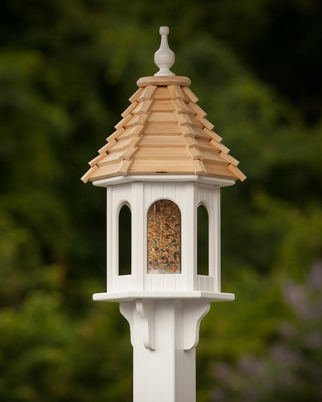 Vinyl Gazebo Bird Feeder with Cypress Shingle Roof