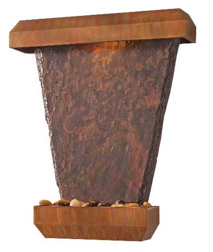 Hanging Slate Wall Fountain- Patina Copper