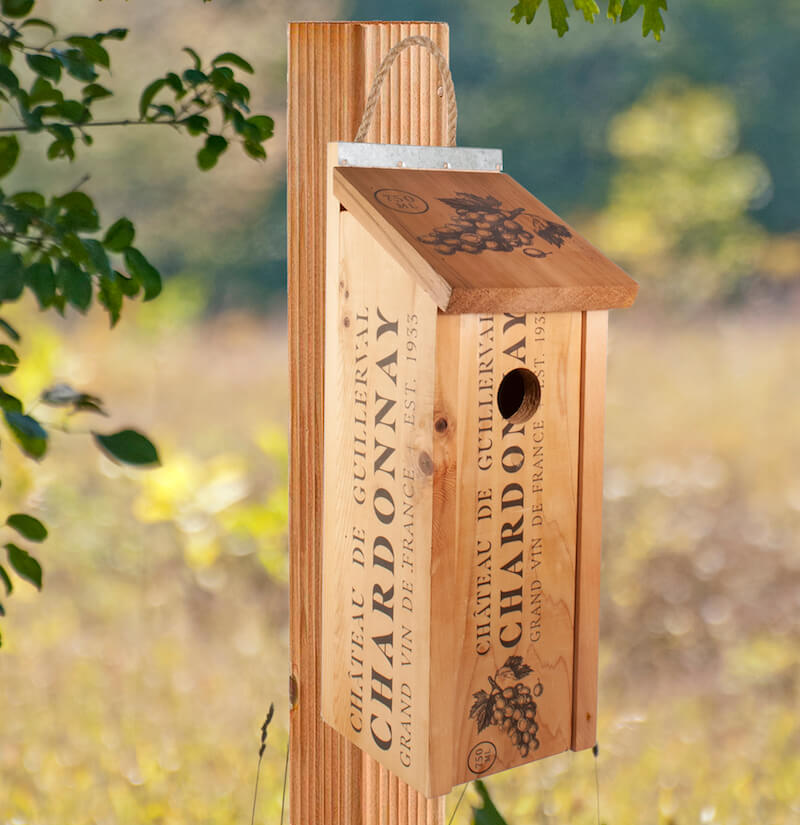 Wine Crate Gift Bottle Birdhouse