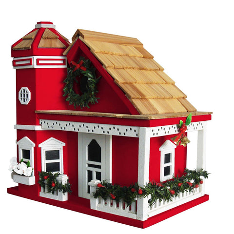 Yuletide Cottage Birdhouse- Red or White