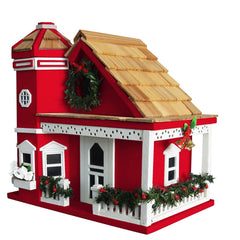Yuletide Cottage Birdhouse-Red