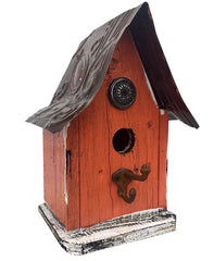Barn Wood and Tin Rustic Birdhouse- Orange