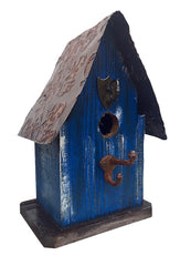 Barn Wood and Tin Rustic Birdhouse- Cobalt