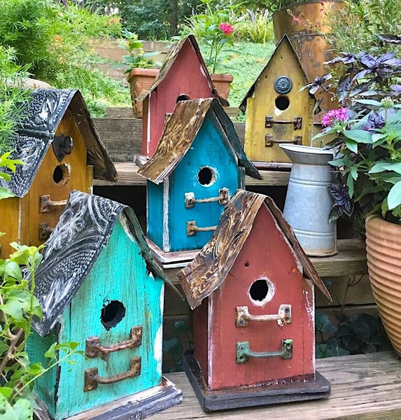 Barn Wood Amp Tin Birdhouses Rustic Birdhouse Unique