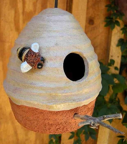 Ceramic Beehive Hanging Birdhouse With Beaded Cord The
