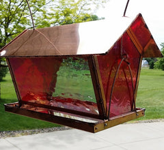 Extra Large Stained Glass and Copper Bird Feeder
