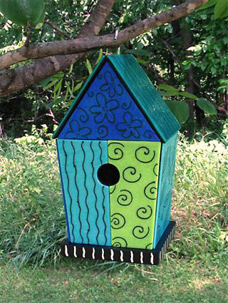 Fused Glass Exterior Wooden Birdhouse