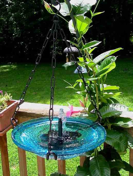 Solar Bubbler Glass Hanging Bird Bath Teal Or Poppy The