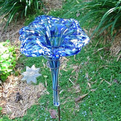 Blown Glass Butterfly Feeder/Bath-Blue 38-inch