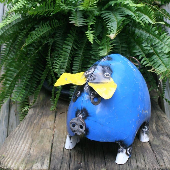 Portly Pigs Recycled Yard Art-Blue