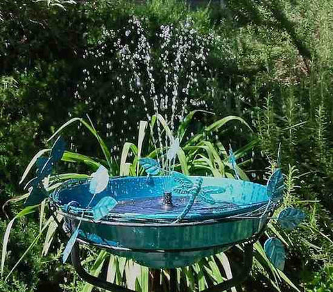 Solar Fountain Bird Bath-Deck Mount/Ground
