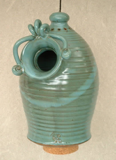 Anthony Stoneware Bluebird Birdhouse-Teal