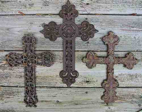 Cast Iron Crosses-Set of 3 Dark with Verde Accents