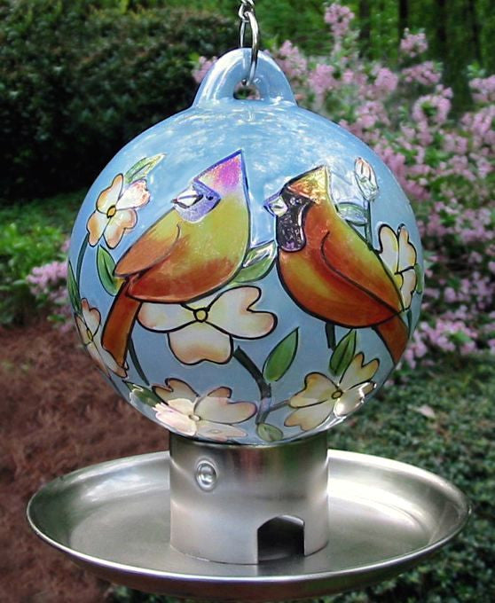 Ceramic Cardinal Globe Feeder with Tray