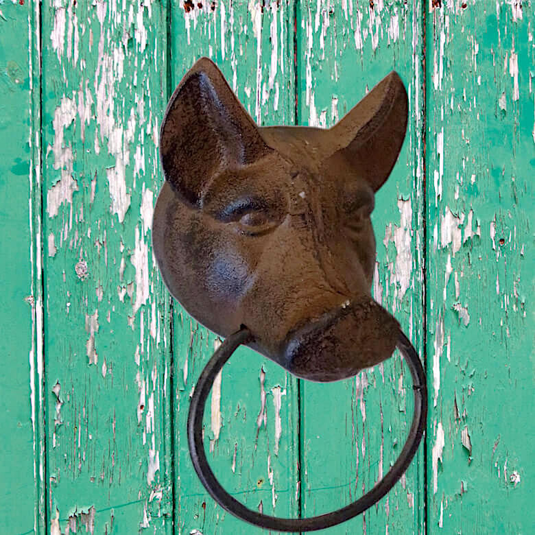 Cast Iron Pig Face Towel Ring