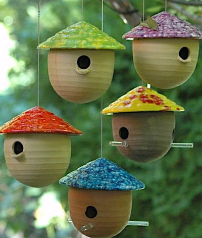 Ceramic Gourd Bird Feeders