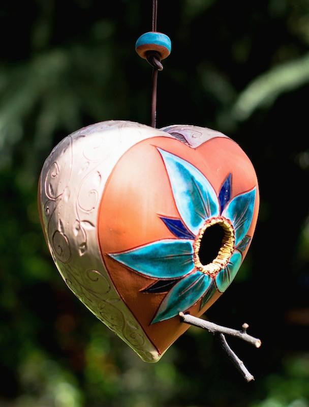 Ceramic Heart Hanging Birdhouse-Flower