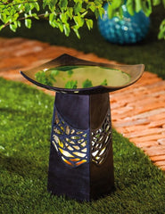 Organic Glaze Ceramic Lighted Bird Bath