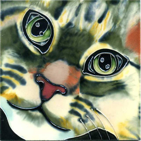 Close-Up Ceramic Cat Tile-2 sizes