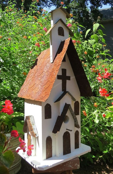 Tall Church Birdhouse, Handcrafted Barn Wood & Tin – The ...