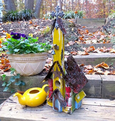 Yellow Church Birdhouse is one-of-a-kind
