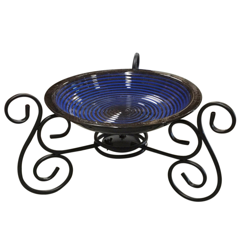 Glazed Cobalt Bird Bath with Stand