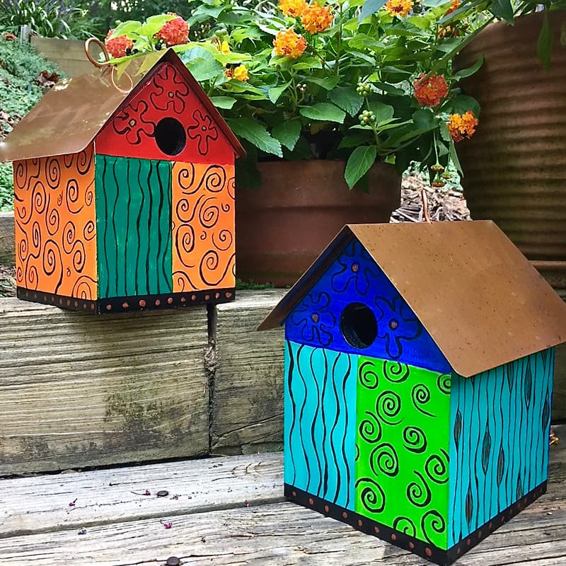 Color Block Copper Birdhouse