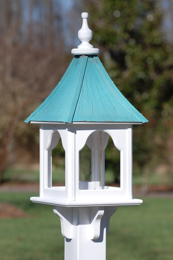 Copper Roof Bird Feeder Vinyl/PVC Patina Copper Square