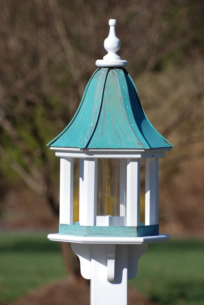Copper Roof Bird Feeder-Vinyl Gazebo 28x12 Patina Copper