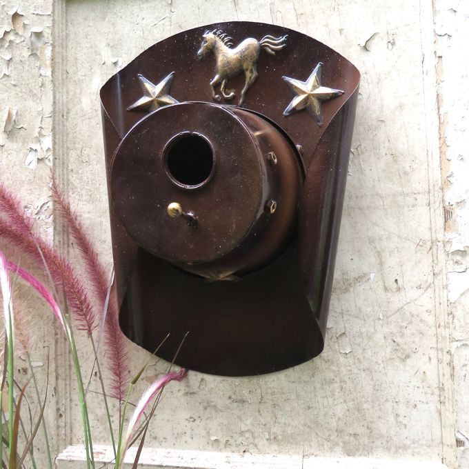 Brown Cowboy Hat Metal Birdhouse