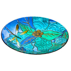 Dragonflies Glass Bird Bath