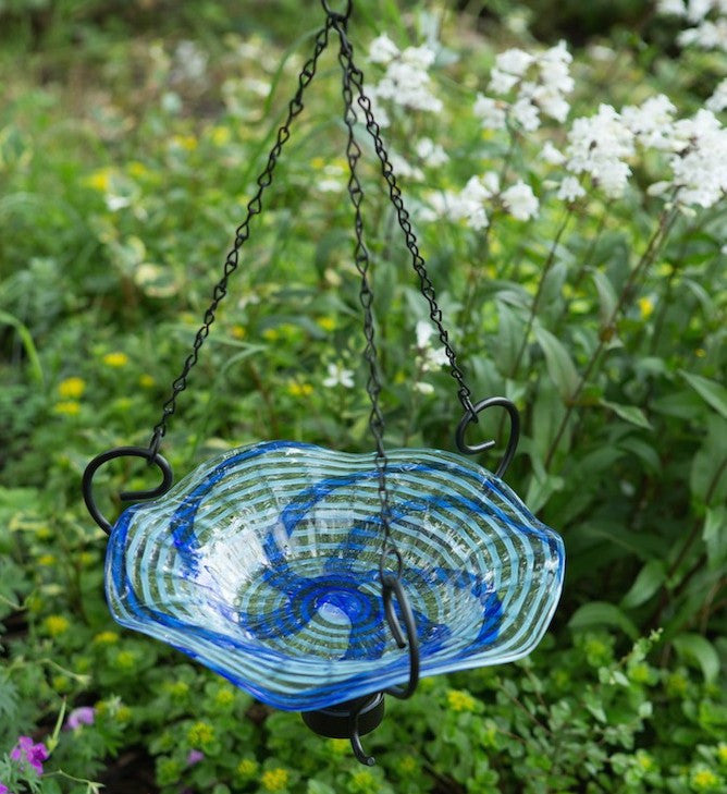 Luna Light Glass Hanging Bird Bath