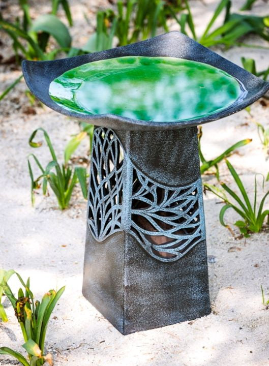 Organic Hand Glazed Lighted Ceramic Birdbath The