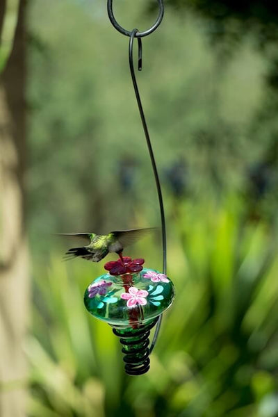 Hand Painted Glass Hummingbird Feeder Unique Humming