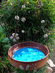 Ceramic Daisy Hanging Bird Bath