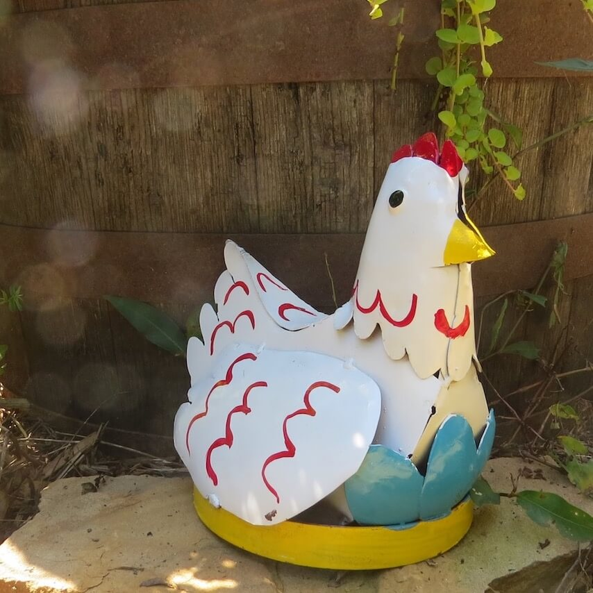 Hen with Eggs Metal Yard Art-White