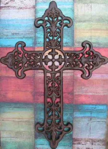 Large Cast Iron Cross with Scrolling Detail-17.5 inch