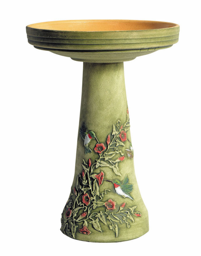 Hummingbird Tall Bird Bath with Locking Top
