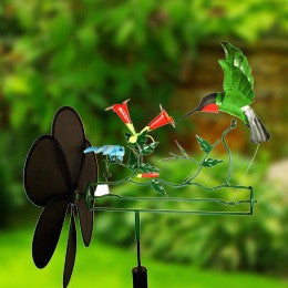 Hummingbird Amp Dragonfly Whirligig With Pole The