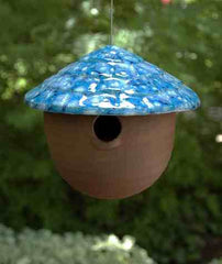 Ceramic Gourd Birdhouse-Funtasmic Blue