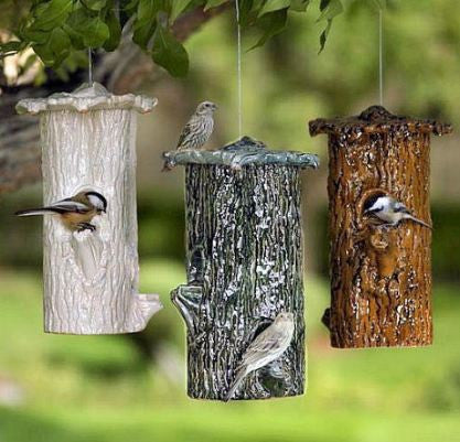 Ceramic Tree Trunk Bird Feeder