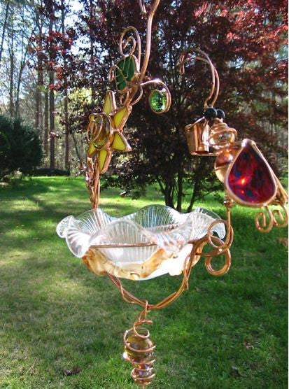 Hanging Bird Feeders Stained Glass Bird Feeder Multi