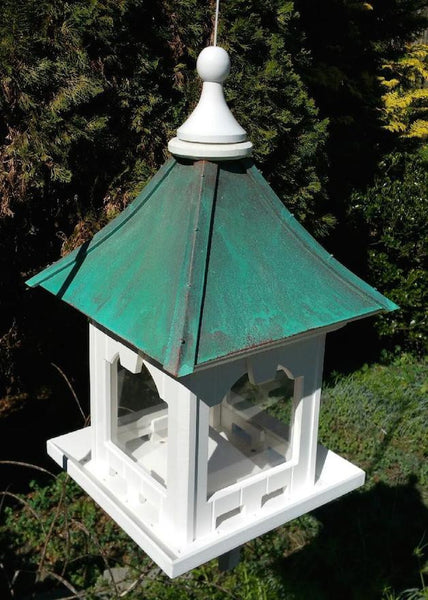 Hanging Copper Roof Bird Feeder Vinyl Pvc 10 Lb Hopper