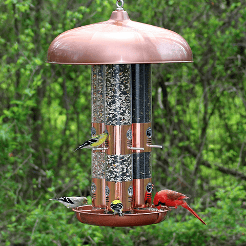 Large Capacity Triple Tube Bird Feeder w/ Copper Ports